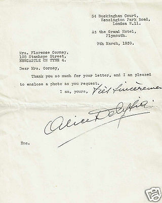 Alice Delysia French Actress and Singer Hand written  Letter 1939