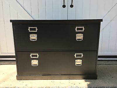POTTERY BARN Bedford Black 2 Drawer Lateral File Cabinet Adjustable Legs