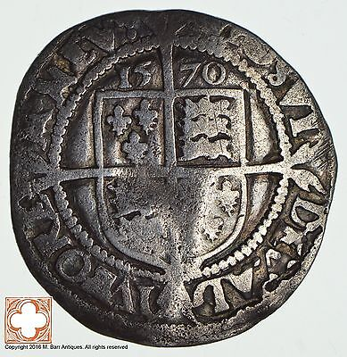 1570 Great Britain Elizabeth I Silver Six Pence *8885