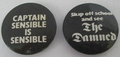 The Damned 2 X Vintage Late 70s 32mm Stiff Badges Pins Buttons New Wave Punk
