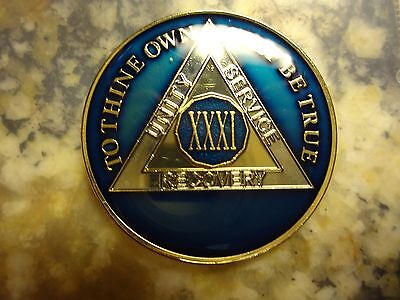 AA Tri-Plate Alcoholics Anonymous Blue/Gold Coin 31 Years Chip Token Medallion