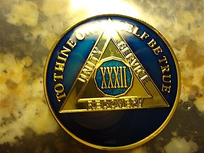 AA Blue Gold 32 Year Coin Tri-Plate Alcoholics Anonymous Medallion Sobriety Chip