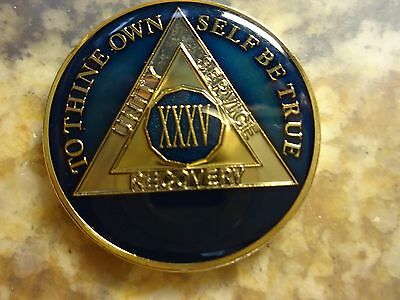 AA Blue Gold 35 Year Coin Tri-Plate Alcoholics Anonymous Medallion Sobriety Chip