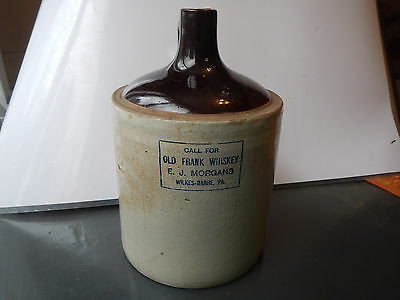 OLD FRANK WHISKEY JUG 2 Gallon RARE Vintage Wilkes-Barre, PA