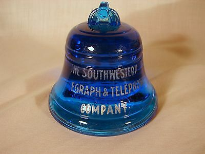 Old Original Southwestern Bell Telegraph & Telephone Co. Blue Glass Paperweight