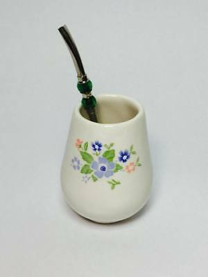 Stainless Steel Bombilla Straw and White Ceramic Cup  Mate Paraguay Tea Yerba