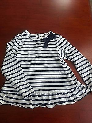 Toddler girl long sleeve top, OshKosh, navy/white stripe with bow, 3T