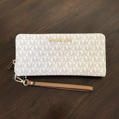 NEW Michael Kors Vanilla PVC MK Signature Jet Set Zip Around Wallet Wristlet