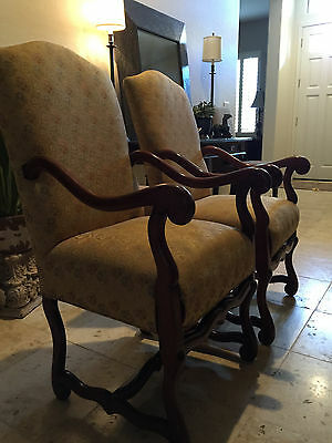 Vintage Armchairs French Louis XIII Style Os de Mouton Chairs (PAIR)
