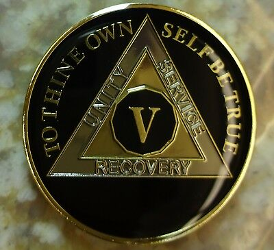 AA Black Gold 5 Year Coin Tri-Plate Alcoholics Anonymous Medallion Sober Chip
