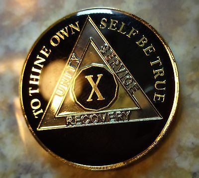 AA Black Gold 10 Year Coin Tri-Plate Alcoholics Anonymous Medallion Sober Chip