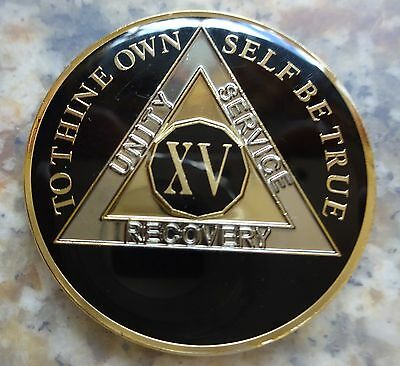 AA Black Gold 15 Year Coin Tri-Plate Alcoholics Anonymous Medallion Sober Chip