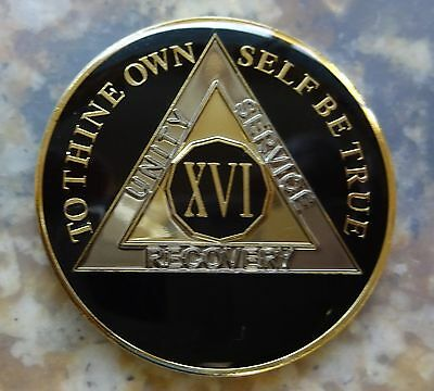 AA Black Gold 16 Year Coin Tri-Plate Alcoholics Anonymous Medallion Sober Chip