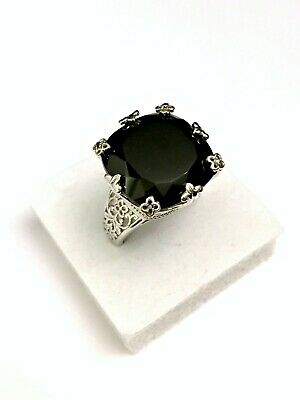 40ct Boi Ploi Black Spinel & Black Diamond Ring in Sterling Silver - UK Size P
