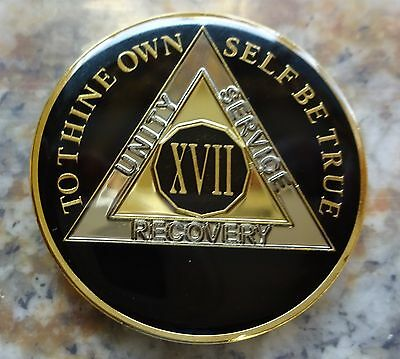 AA Black Gold 17 Year Coin Tri-Plate Alcoholics Anonymous Medallion Sober Chip