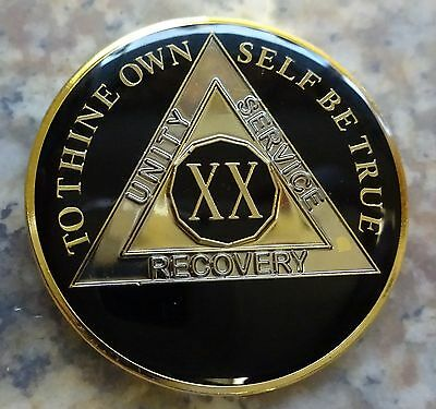 AA Black Gold 20 Year Coin Tri-Plate Alcoholics Anonymous Medallion Sober Chip