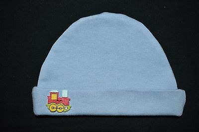 Blue with red train Newborn baby Hat, size NB - handmade