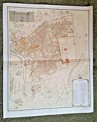 """Map Of The Old City Of Jerusalem Israel modified May 1947 reprinted 1966 25""""x30"""""""