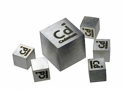 Cadmium Metal 10mm Density Cube 99.95% Pure for Element Collection