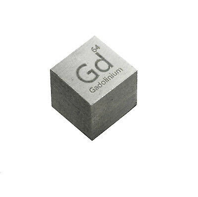 Gadolinium Metal 10mm Density Cube 99.5% Pure for Element Collection