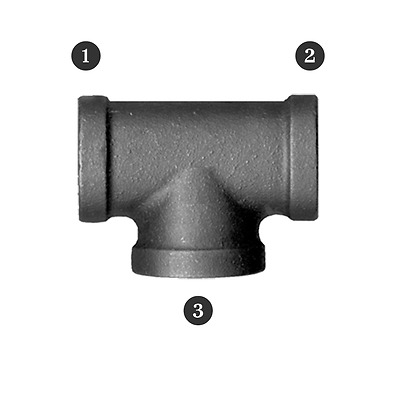 """1//2/"""" 4 Way Side Outlet Tee Malleable Iron fitting pipe NPT Black Decor Style 4pc"""