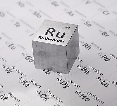 Ruthenium Metal 20mm Density Cube 99.95% Pure for Element Collection