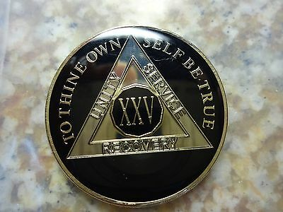 AA Black Gold 25 Year Coin Tri-Plate Alcoholics Anonymous Medallion Sober Chip