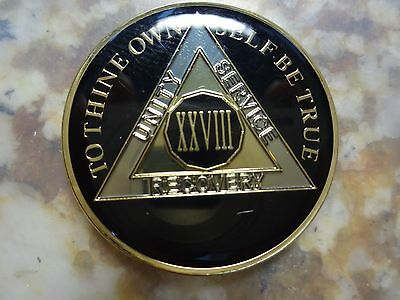 AA Tri-Plate Alcoholics Anonymous Black/Gold Coin 28 Years Chip Token Medallion