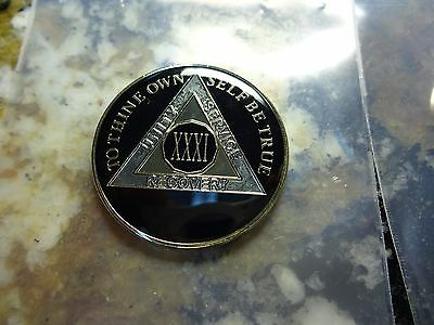 AA Tri-Plate Alcoholics Anonymous Black/Gold Coin 31 Years Chip Token Medallion