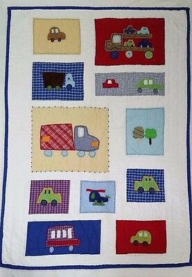 Pottery Barn Kids Cars Trucks Helicopter Toddler Bed Quilt Boys Transportation