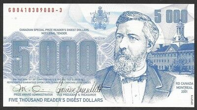Reader's Digest 2001 Canada Sweepstakes advertising Note $5000 English Coupon