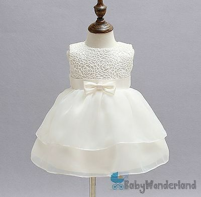 Baby Girls Ivory Christening Gown Baptism Gown Birthday Lace Dress Size 0-2Years