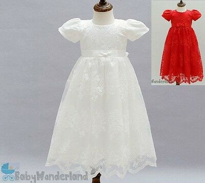 Baby Girl Short Sleeve Full Length Christening  Baptism Gown Lace Dress Size0-2Y