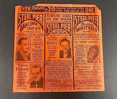 1937 Steel Pier NJ Double Sided Pamphlet Abbott & Costello Shirley Temple Rare!