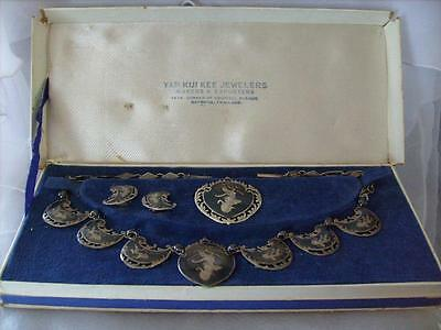 Vintage - Antique Siam Sterling Silver Four Piece Jewelry Set