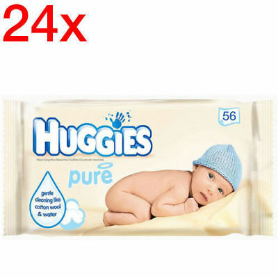 Huggies w/ 1344 Wipes Pure Gentle Baby Wipes/Natural Absorbent Fibres for Infant