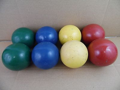 Vintage Set of 8 Bocce Balls Red Blue Yellow Green Lawn Bowling