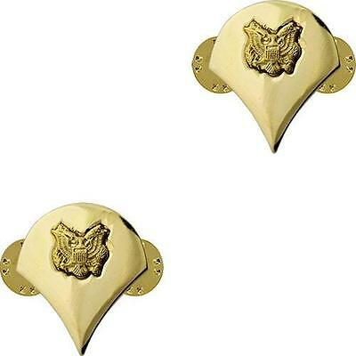 Two 2 Specialist E-4 Spc Gold Lapel Hat Pin Up Us Army Veteran Rank Promotion