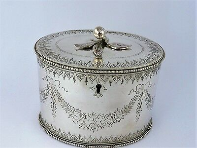Superb Victorian SILVER NEOCLASSICAL TEA CADDY BOX, London 1859 Wm Stocker