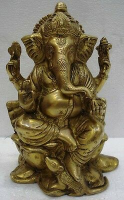 LARGE - Vintage Style HINDU Lord GANESHA Statue Figurine - 9 Inches - BRASS