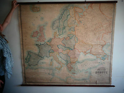 Antique Stanfords Map of Europe 1924 - Very Large on Wooden Rails
