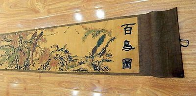 Nice One hundred Birds Pretty Chinese Ancient Painting silk paper Scroll 百鸟图