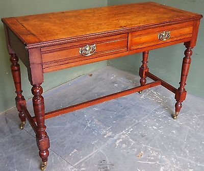 Antique Edwardian Mahogany Side Hall Table With Two Drawers On Turned Supports
