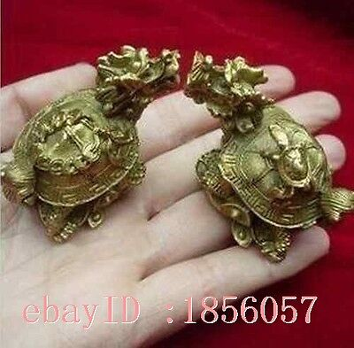 Traditional double carved exquisite old copper dragon turtle statue