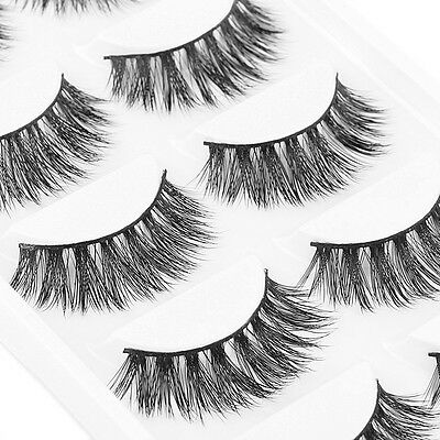 5Pair 100% Mink Cross Thick False Eyelashes Makeup Eye Lashes Extension Black FR
