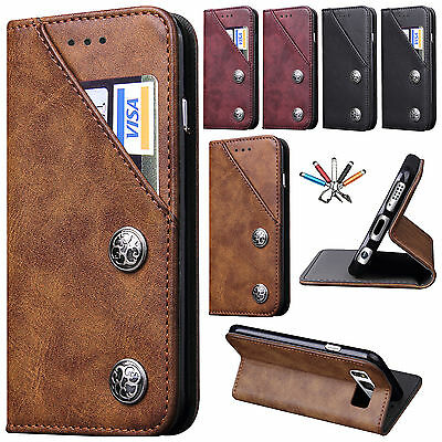 For Samsung S8/S8 Plus Card Slots Leather Stand Wallet Magnetic Flip Case Cover