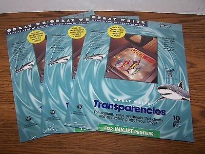 LOT OF 3 - NEW Great White Transparencies For Color Ink Jet Printer 86999