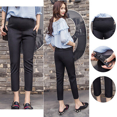 Overbumped Trousers Pants Cropped Maternity Black Comfy Cute 6 8 10 12 14