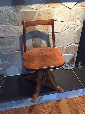 Vintage Industrial Machine Age Sikes Cast Iron and Wood Drafting Factory Stool