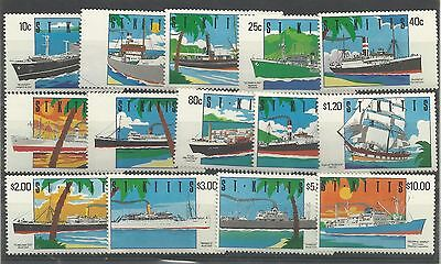 St.Christopher,Nevis & Anguilla Set of 14 Ship Issues, Sg 312-325, UnM/M [349]